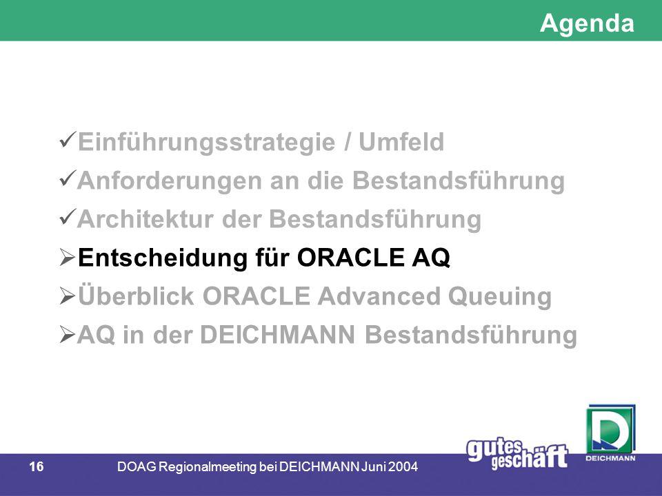 16DOAG Regionalmeeting bei DEICHMANN Juni 2004 Agenda Einführungsstrategie / Umfeld Anforderungen an die Bestandsführung Architektur der Bestandsführung  Entscheidung für ORACLE AQ  Überblick ORACLE Advanced Queuing  AQ in der DEICHMANN Bestandsführung
