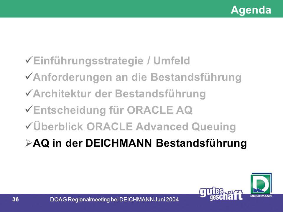 36DOAG Regionalmeeting bei DEICHMANN Juni 2004 Agenda Einführungsstrategie / Umfeld Anforderungen an die Bestandsführung Architektur der Bestandsführu