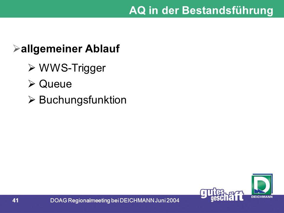 41DOAG Regionalmeeting bei DEICHMANN Juni 2004 AQ in der Bestandsführung  allgemeiner Ablauf  WWS-Trigger  Queue  Buchungsfunktion
