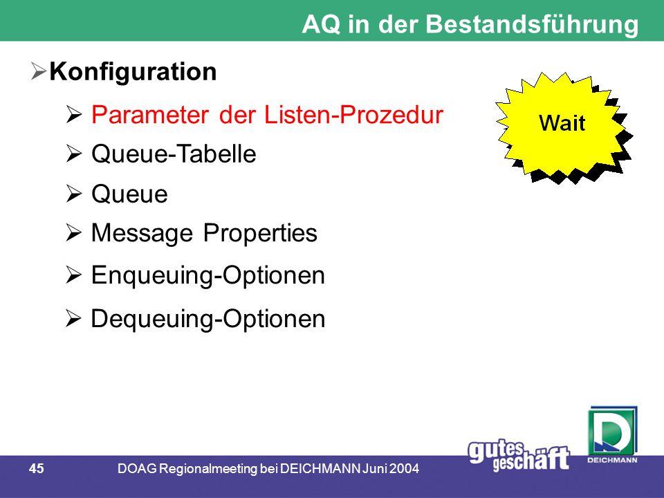 45DOAG Regionalmeeting bei DEICHMANN Juni 2004 AQ in der Bestandsführung  Konfiguration  Parameter der Listen-Prozedur  Queue-Tabelle  Queue  Mes