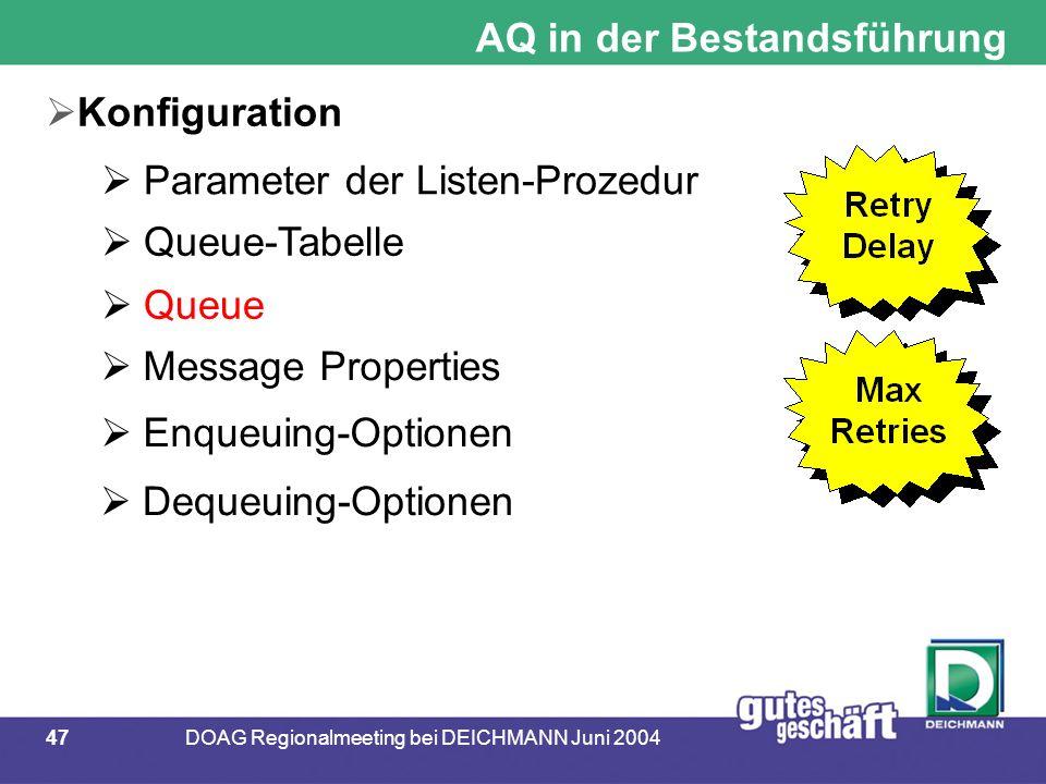 47DOAG Regionalmeeting bei DEICHMANN Juni 2004 AQ in der Bestandsführung  Konfiguration  Parameter der Listen-Prozedur  Queue-Tabelle  Queue  Message Properties  Enqueuing-Optionen  Dequeuing-Optionen