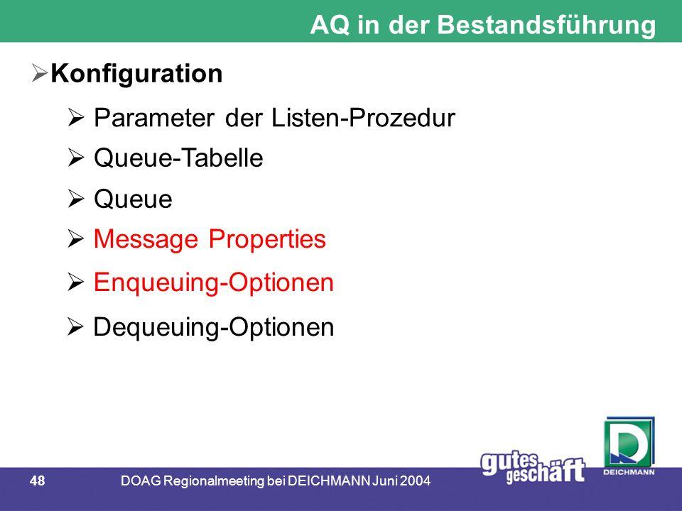 48DOAG Regionalmeeting bei DEICHMANN Juni 2004 AQ in der Bestandsführung  Konfiguration  Parameter der Listen-Prozedur  Queue-Tabelle  Queue  Message Properties  Enqueuing-Optionen  Dequeuing-Optionen