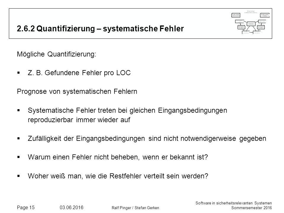 Software in sicherheitsrelevanten Systemen Sommersemester 2016 03.06.2016 Ralf Pinger / Stefan Gerken Page 15 2.6.2 Quantifizierung – systematische Fehler Mögliche Quantifizierung:  Z.