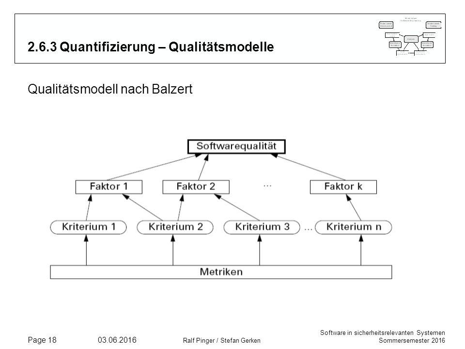 Software in sicherheitsrelevanten Systemen Sommersemester 2016 03.06.2016 Ralf Pinger / Stefan Gerken Page 18 2.6.3 Quantifizierung – Qualitätsmodelle Qualitätsmodell nach Balzert