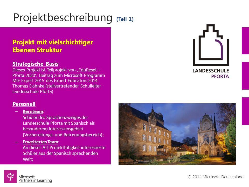 © 2014 Microsoft Deutschland Projektbeschreibung (Teil 1) Projekt mit vielschichtiger Ebenen Struktur Strategische Basis: Dieses Projekt ist Teilproje
