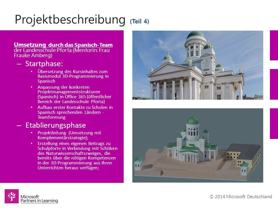 © 2014 Microsoft Deutschland Projektbeschreibung (Teil 4) Umsetzung durch das Spanisch-Team der Landesschule Pforta (Mentorin: Frau Frauke Amberg) – S