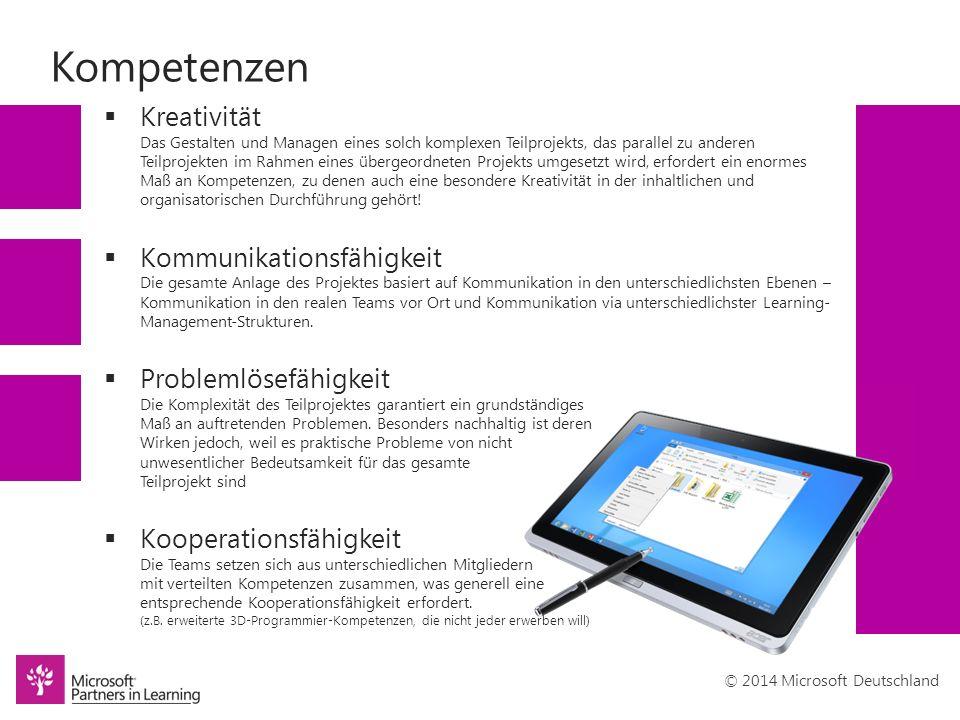 © 2014 Microsoft Deutschland Kompetenzen  Kreativität Das Gestalten und Managen eines solch komplexen Teilprojekts, das parallel zu anderen Teilprojekten im Rahmen eines übergeordneten Projekts umgesetzt wird, erfordert ein enormes Maß an Kompetenzen, zu denen auch eine besondere Kreativität in der inhaltlichen und organisatorischen Durchführung gehört.
