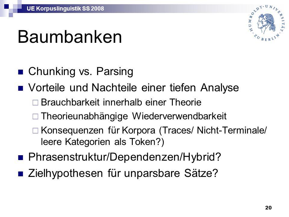 UE Korpuslinguistik SS 2008 20 Baumbanken Chunking vs.