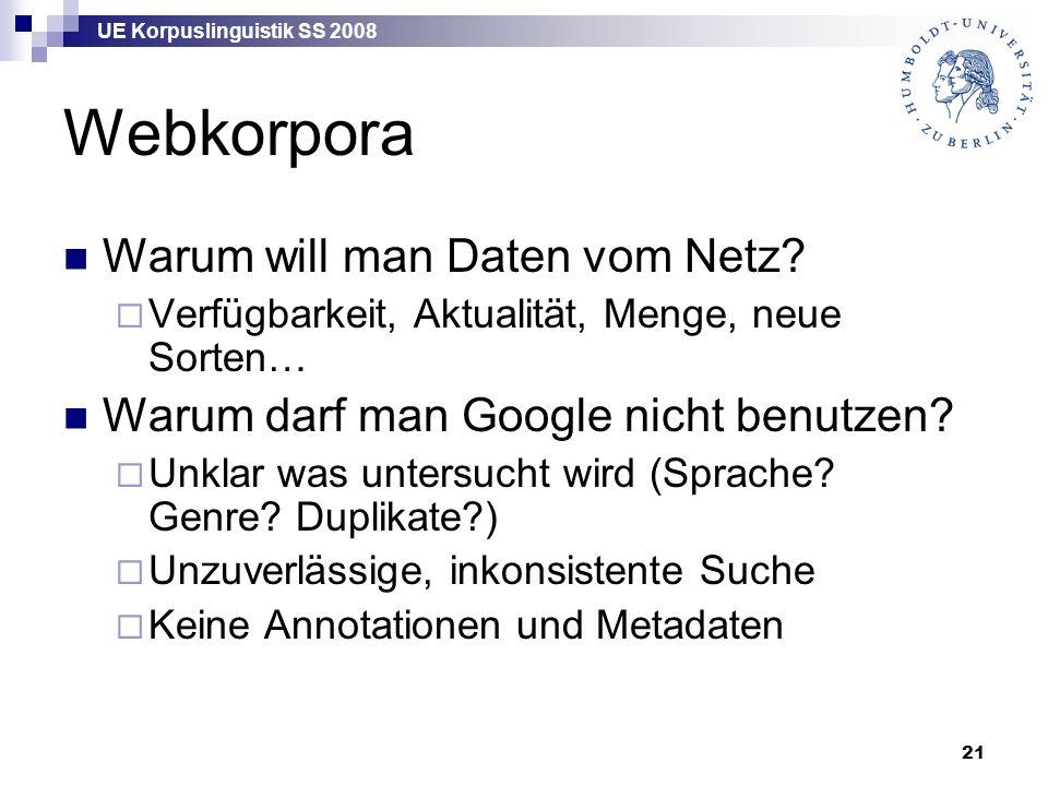 UE Korpuslinguistik SS 2008 21 Webkorpora Warum will man Daten vom Netz.
