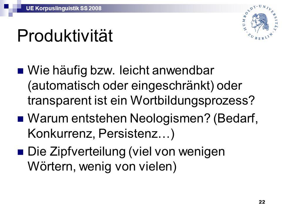 UE Korpuslinguistik SS 2008 22 Produktivität Wie häufig bzw.