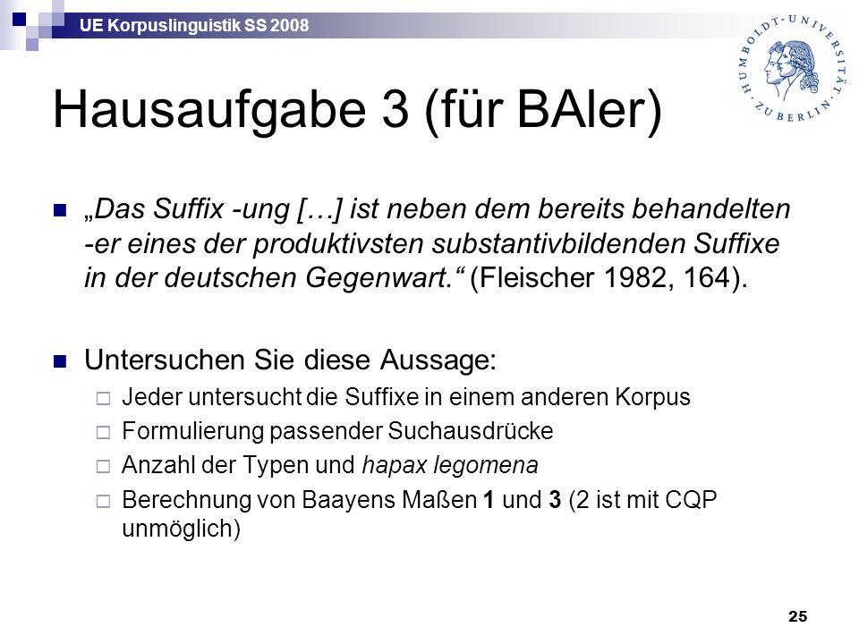 """UE Korpuslinguistik SS 2008 25 Hausaufgabe 3 (für BAler) """"Das Suffix -ung […] ist neben dem bereits behandelten -er eines der produktivsten substantivbildenden Suffixe in der deutschen Gegenwart. (Fleischer 1982, 164)."""