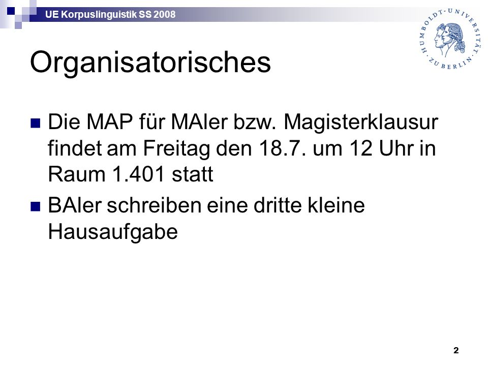 UE Korpuslinguistik SS 2008 3 Korpora Nach bestimmten Kriterien aufgebaute Sammlungen von (evtl.