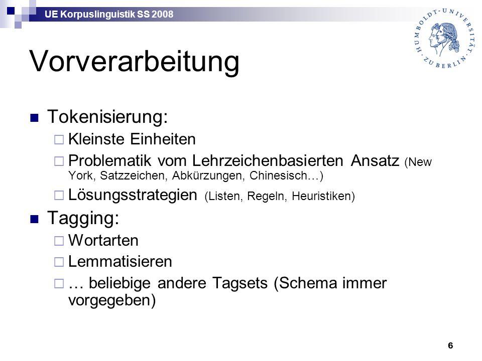 """UE Korpuslinguistik SS 2008 27 """"Frequencies -Einstellung"""