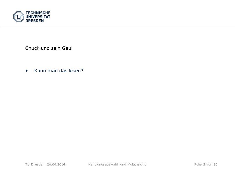 Chuck und sein Gaul Kann man das lesen? TU Dresden, 24.06.2014Handlungsauswahl und MultitaskingFolie 2 von 20