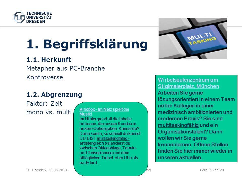 TU Dresden, 24.06.2014Handlungsauswahl und MultitaskingFolie 7 von 20 1. Begriffsklärung 1.1. Herkunft Metapher aus PC-Branche Kontroverse 1.2. Abgren