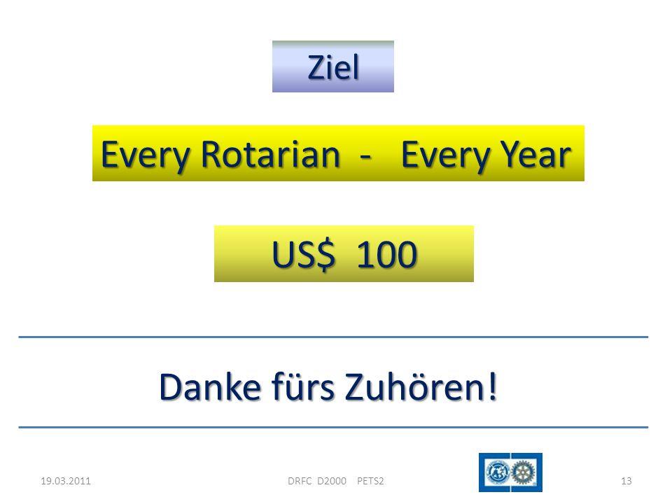19.03.2011DRFC D2000 PETS213 Ziel Every Rotarian - Every Year US$ 100 Danke fürs Zuhören!