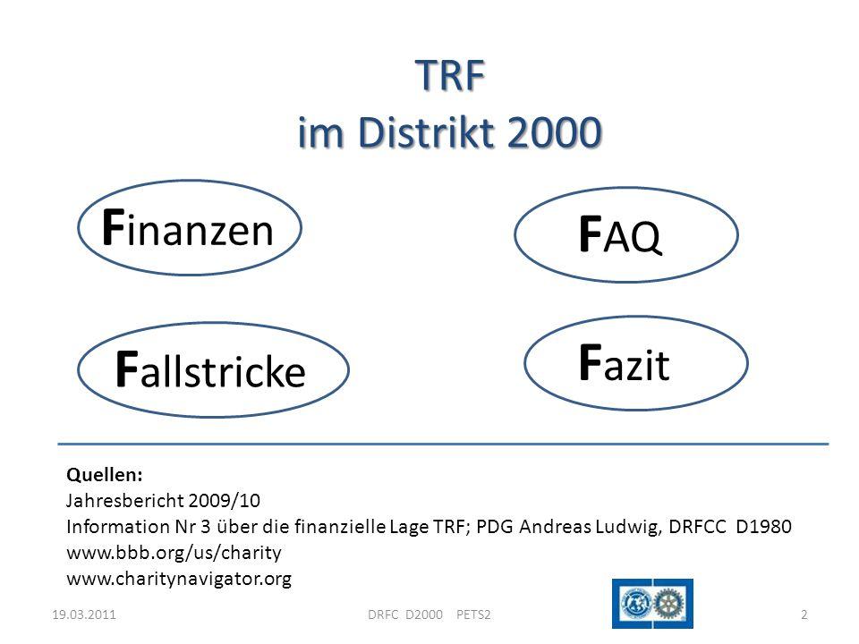 TRF im Distrikt 2000 19.03.20112DRFC D2000 PETS2 F inanzen F AQ F allstricke F azit Quellen: Jahresbericht 2009/10 Information Nr 3 über die finanziel