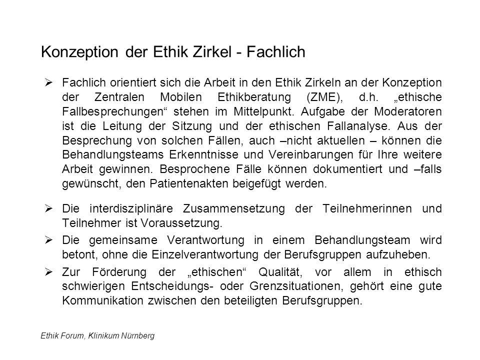 Ethik Forum, Klinikum Nürnberg Konzeption der Ethik Zirkel - Fachlich  Fachlich orientiert sich die Arbeit in den Ethik Zirkeln an der Konzeption der Zentralen Mobilen Ethikberatung (ZME), d.h.