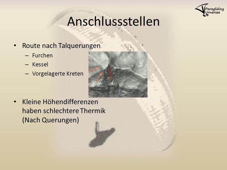 Anschlussstellen Route nach Talquerungen – Furchen – Kessel – Vorgelagerte Kreten Kleine Höhendifferenzen haben schlechtere Thermik (Nach Querungen)