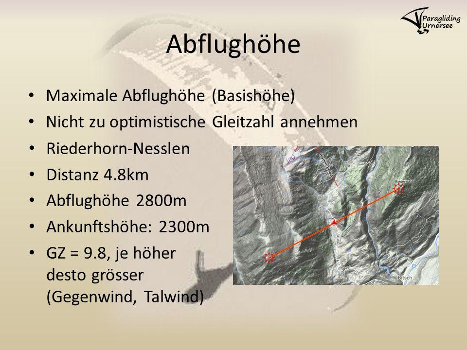 Abflughöhe Maximale Abflughöhe (Basishöhe) Nicht zu optimistische Gleitzahl annehmen Riederhorn-Nesslen Distanz 4.8km Abflughöhe 2800m Ankunftshöhe: 2300m GZ = 9.8, je höher desto grösser (Gegenwind, Talwind)