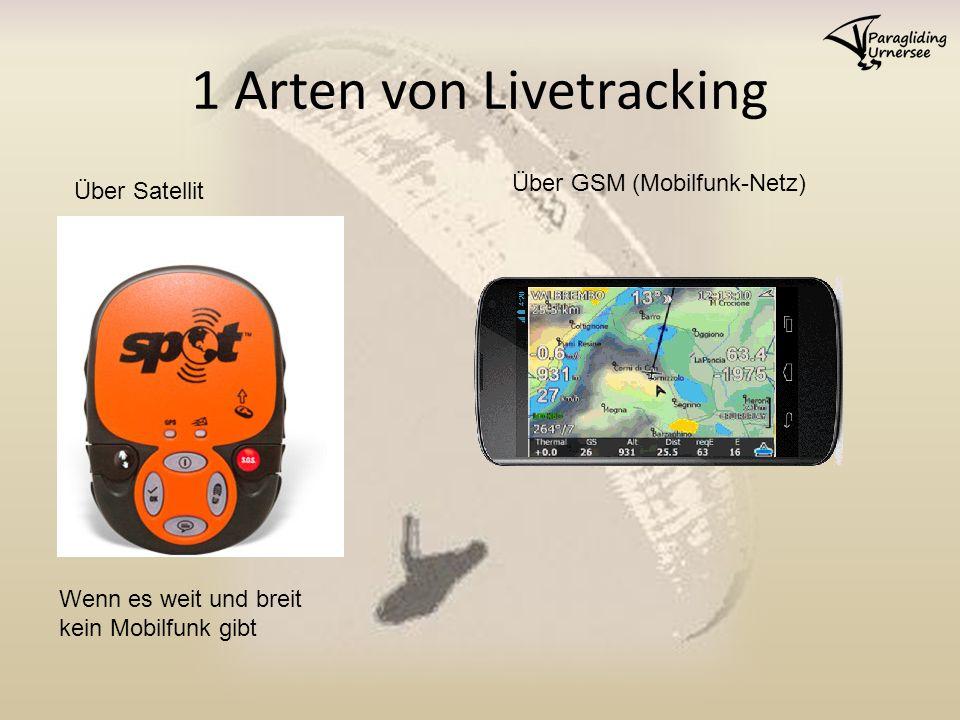 1 Arten von Livetracking Über Satellit Über GSM (Mobilfunk-Netz) Wenn es weit und breit kein Mobilfunk gibt