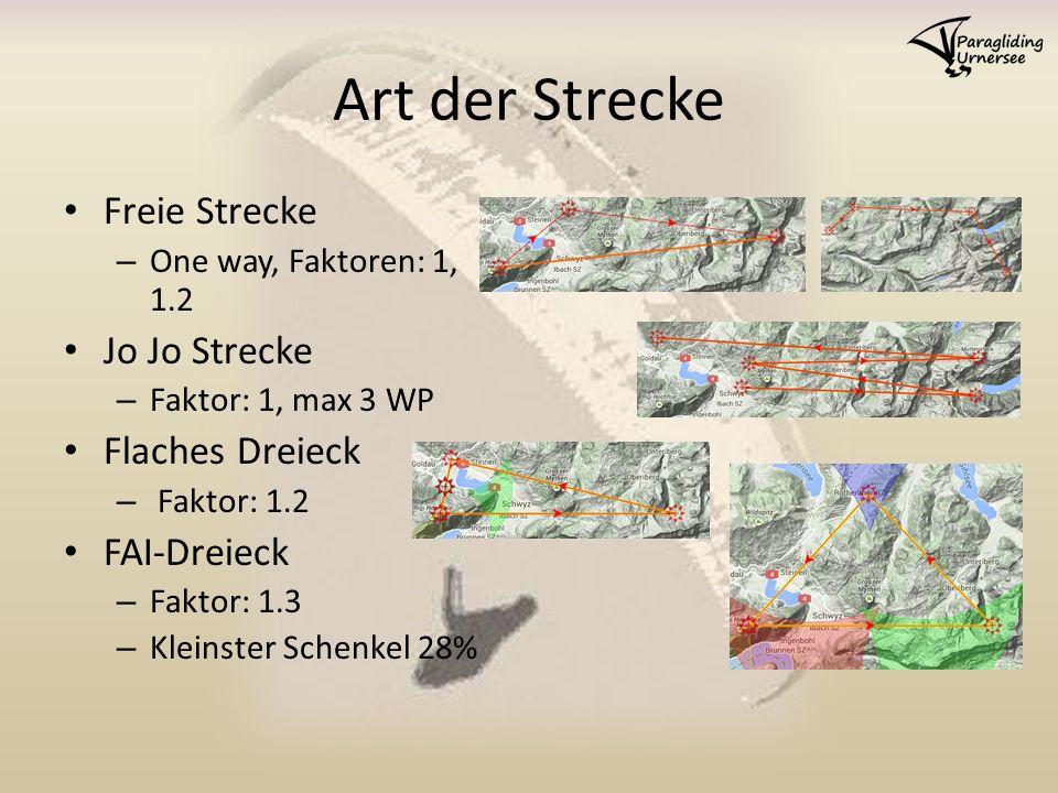 Art der Strecke Freie Strecke – One way, Faktoren: 1, 1.2 Jo Jo Strecke – Faktor: 1, max 3 WP Flaches Dreieck – Faktor: 1.2 FAI-Dreieck – Faktor: 1.3 – Kleinster Schenkel 28%