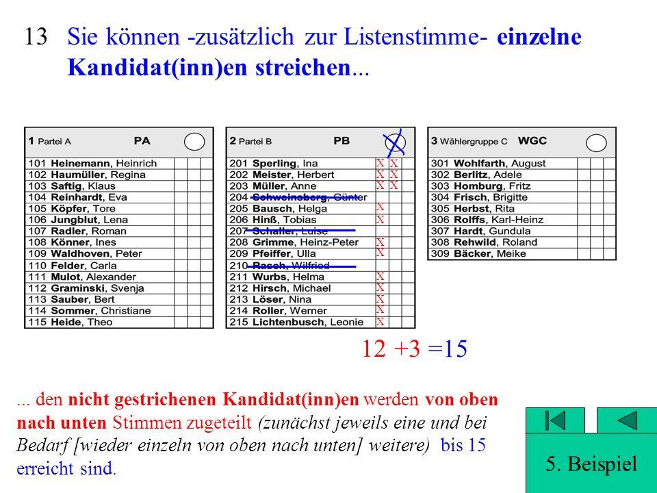 Sie können -zusätzlich zur Listenstimme- einzelne Kandidat(inn)en streichen... 12 Auswertung