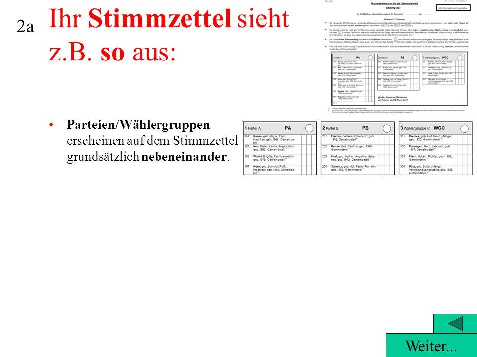 Parteien/Wählergruppen erscheinen auf dem Stimmzettel grundsätzlich nebeneinander.