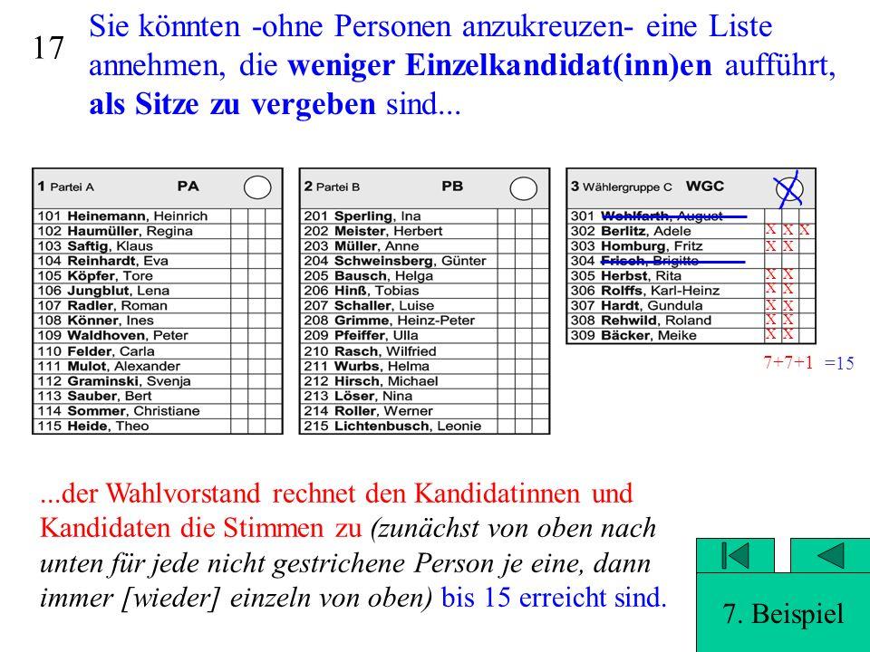 16 Sie könnten -ohne Personen anzukreuzen- eine Liste annehmen, die weniger Einzelkandidat(inn)en aufführt, als Sitze zu vergeben sind...