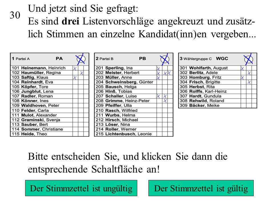 29 Da mehr als 15 Stimmen vergeben wurden und wegen des Panaschierens nicht klar ist, welche Stimmen unberücksichtigt bleiben könnten, ist der Stimmzettel ungültig.