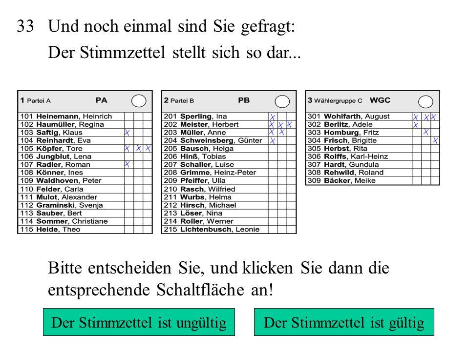31/32 Der Stimmzettel ist gültig, denn jede/r Kandidat/in erhält pro Kreuz eine Stimme.