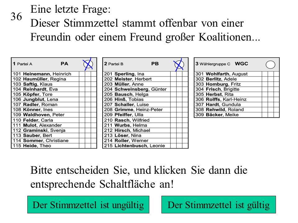 34/35 5 7 6 Da mehr als 15 Stimmen vergeben wurden und wegen des Panaschierens nicht klar ist, welche Stimmen unberücksichtigt bleiben könnten, ist der Stimmzettel ungültig.