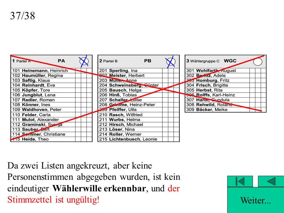38Leider falsch, denn... …es wurden zwei Listen angekreuzt, aber keine Personenstimmen abgegeben.