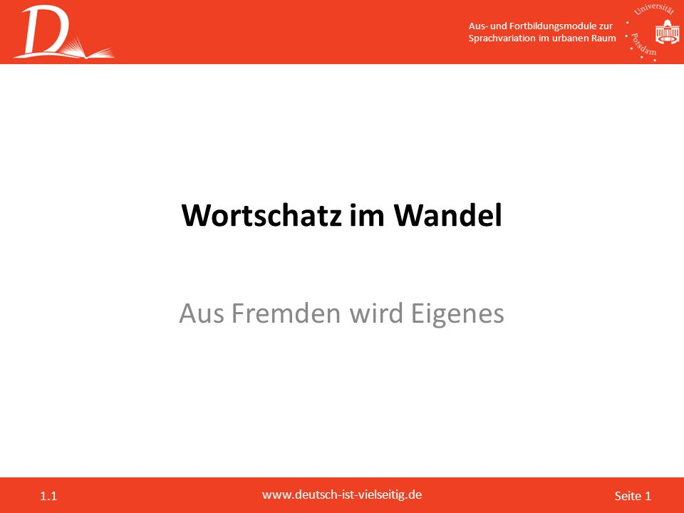 Seite 1 www.deutsch-ist-vielseitig.de 1.1 Wortschatz im Wandel Aus Fremden wird Eigenes Aus- und Fortbildungsmodule zur Sprachvariation im urbanen Rau