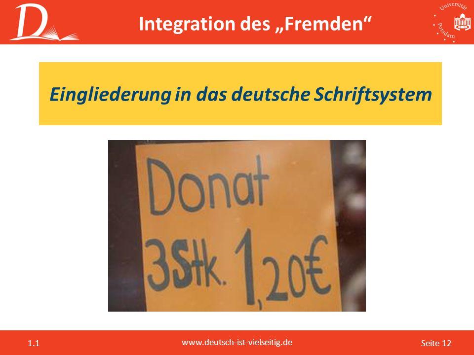 """Seite 12 www.deutsch-ist-vielseitig.de 1.1 Integration des """"Fremden"""" Eingliederung in das deutsche Schriftsystem"""