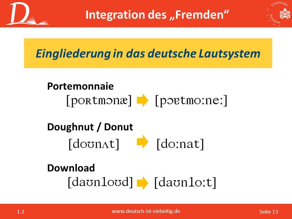 """Seite 13 www.deutsch-ist-vielseitig.de 1.1 Portemonnaie Doughnut / Donut Download Integration des """"Fremden"""" Eingliederung in das deutsche Lautsystem"""