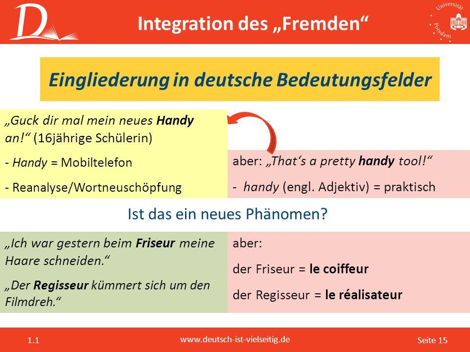 "Seite 15 www.deutsch-ist-vielseitig.de 1.1 Integration des ""Fremden"" ""Guck dir mal mein neues Handy an!"" (16jährige Schülerin) - Handy = Mobiltelefon"