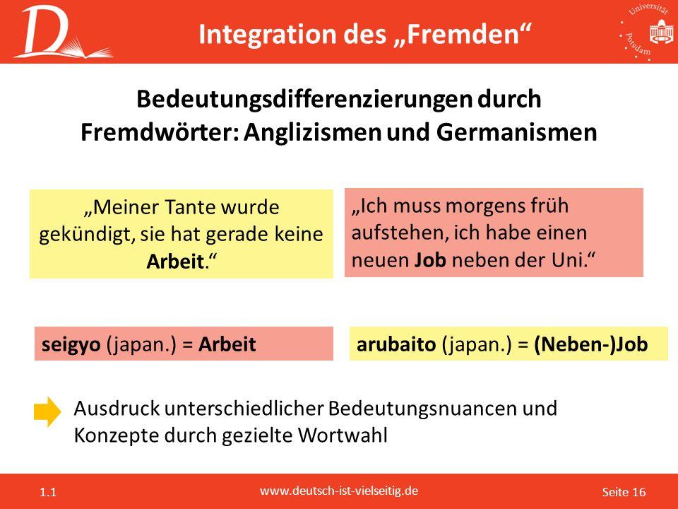 """Seite 16 www.deutsch-ist-vielseitig.de 1.1 Integration des """"Fremden"""" Bedeutungsdifferenzierungen durch Fremdwörter: Anglizismen und Germanismen Ausdru"""