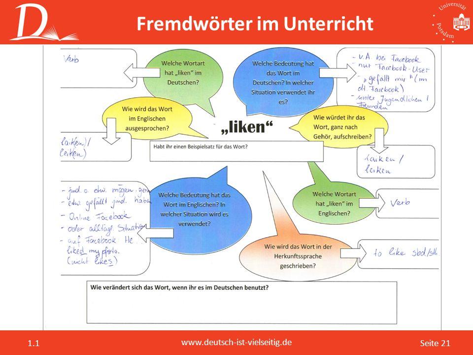 Seite 21 www.deutsch-ist-vielseitig.de 1.1 Fremdwörter im Unterricht