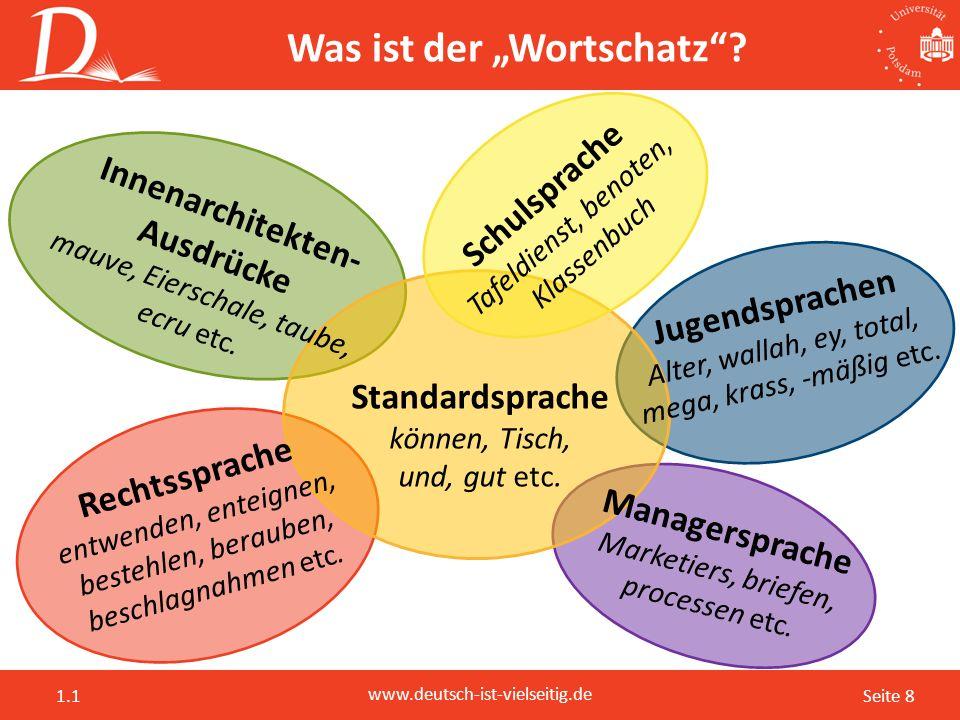 """Seite 8 www.deutsch-ist-vielseitig.de 1.1 Was ist der """"Wortschatz""""? Innenarchitekten- Ausdrücke mauve, Eierschale, taube, ecru etc. Jugendsprachen Alt"""