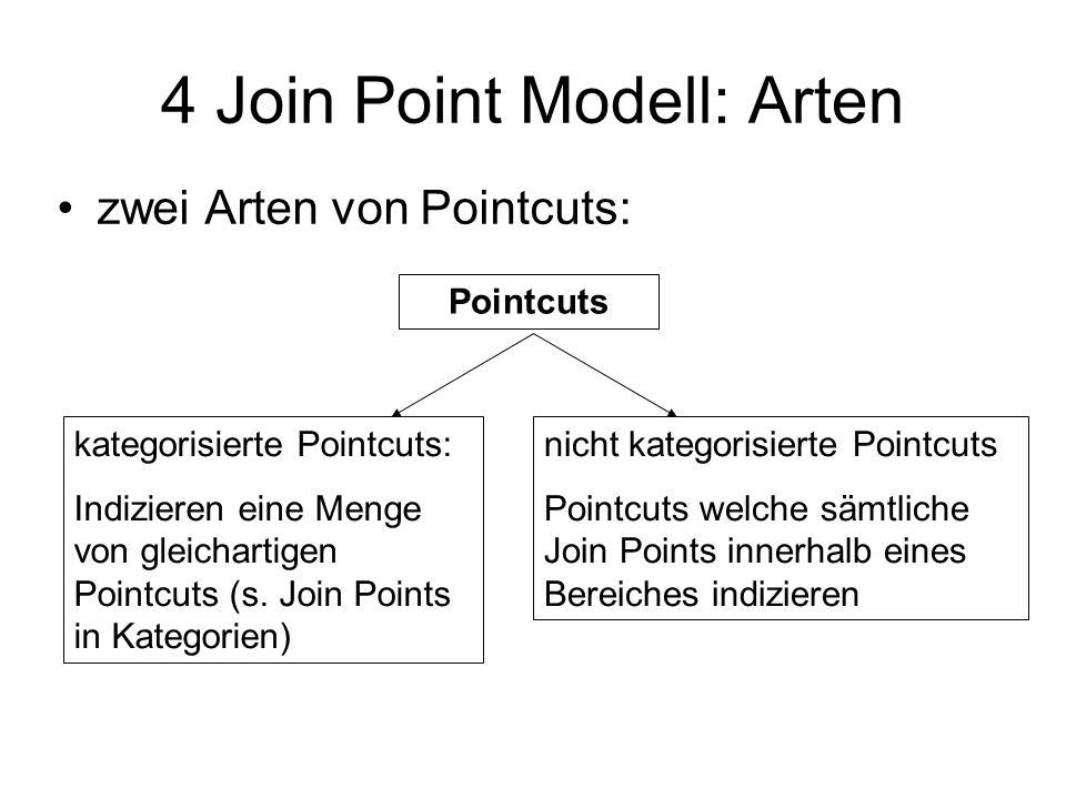 4 Join Point Modell: Arten zwei Arten von Pointcuts: Pointcuts kategorisierte Pointcuts: Indizieren eine Menge von gleichartigen Pointcuts (s.