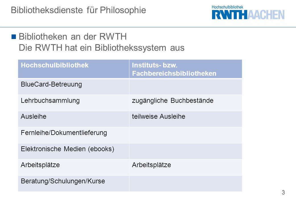 3 Bibliotheken an der RWTH Die RWTH hat ein Bibliothekssystem aus Bibliotheksdienste für Philosophie HochschulbibliothekInstituts- bzw.