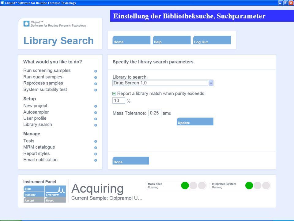 Suchkriterien Einstellung der Bibliotheksuche, Suchparameter