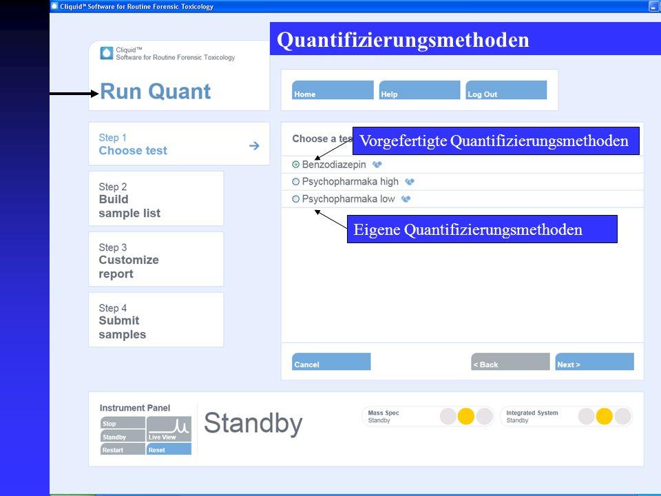 Vorgefertigte Quantifizierungsmethoden Eigene Quantifizierungsmethoden Quantifizierungsmethoden
