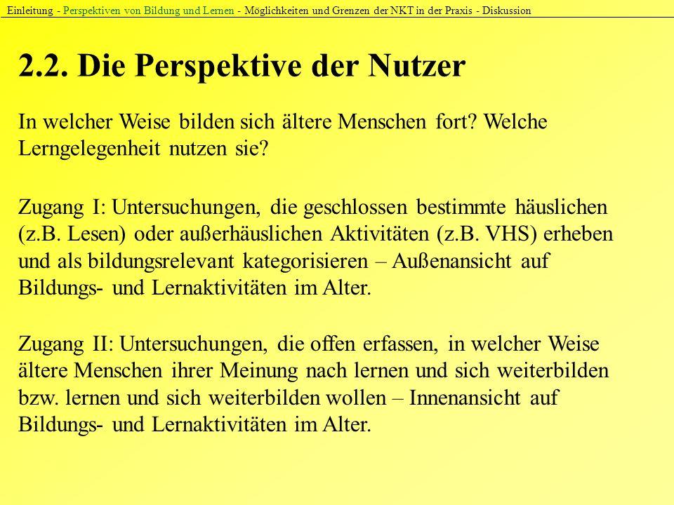 2.2. Die Perspektive der Nutzer Einleitung - Perspektiven von Bildung und Lernen - Möglichkeiten und Grenzen der NKT in der Praxis - Diskussion In wel