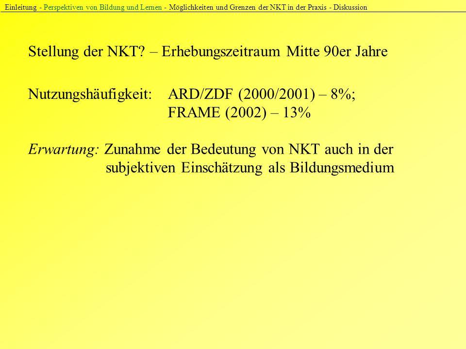 Einleitung - Perspektiven von Bildung und Lernen - Möglichkeiten und Grenzen der NKT in der Praxis - Diskussion Nutzungshäufigkeit: ARD/ZDF (2000/2001) – 8%; FRAME (2002) – 13% Stellung der NKT.