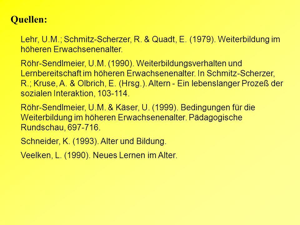 Quellen: Lehr, U.M.; Schmitz-Scherzer, R. & Quadt, E.