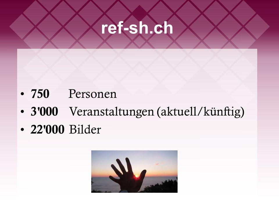 ref-sh.ch 750 Personen 3 000 Veranstaltungen (aktuell/künftig) 22 000 Bilder