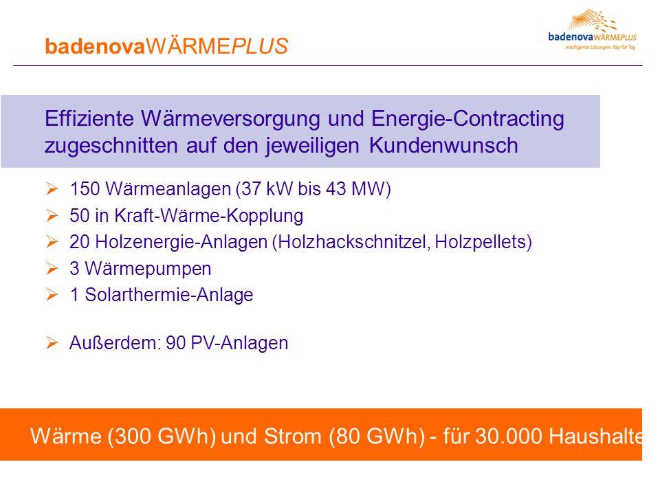badenovaWÄRMEPLUS Effiziente Wärmeversorgung und Energie-Contracting zugeschnitten auf den jeweiligen Kundenwunsch  150 Wärmeanlagen (37 kW bis 43 MW