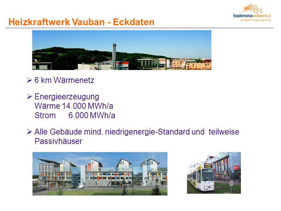  6 km Wärmenetz  Energieerzeugung Wärme 14.000 MWh/a Strom 6.000 MWh/a  Alle Gebäude mind. niedrigenergie-Standard und teilweise Passivhäuser Heizk